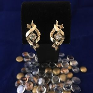 "Vintage ""Corp"" Gold Tone & Rhinestone Earrings"